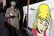 Roy Lichtenstein illustrations on the windows of a gambling and gaming casino in London, UK.