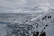 Top view of the heavily crevassed surface and terminus of the main branch of the Columbia Glacier, near Valdez, Alaska.