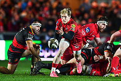 Scarlets' Aled Davies in action during todays match<br /> <br /> Photographer Craig Thomas/Replay Images<br /> <br /> Guinness PRO14 Round 13 - Scarlets v Dragons - Friday 5th January 2018 - Parc Y Scarlets - Llanelli<br /> <br /> World Copyright © Replay Images . All rights reserved. info@replayimages.co.uk - http://replayimages.co.uk