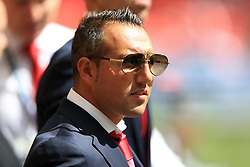 """Arsenal's Santi Cazorla before the Community Shield at Wembley, London. PRESS ASSOCIATION Photo. Picture date: Sunday August 6, 2017. See PA story SOCCER Community Shield. Photo credit should read: Nigel French/PA Wire. RESTRICTIONS: EDITORIAL USE ONLY No use with unauthorised audio, video, data, fixture lists, club/league logos or """"live"""" services. Online in-match use limited to 75 images, no video emulation. No use in betting, games or single club/league/player publications."""