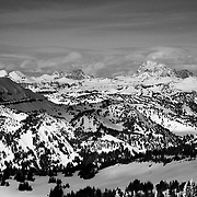 The view of the northern Teton Range from the top of Mount Taylor. Grand Teton is on the right in the clouds.