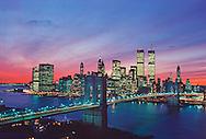 New York, New York City, Brooklyn Bridge and Lower Manhattan Skyline, designed by John Augustus Roebling