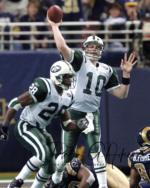 Jets quarterback Chad Pennington (10) fires the ball down field against the St. Louis Rams at the Edward Jones Dome in St. Louis, Missouri.  The Jets lost to the Rams in overtime 32-29 on January 2, 2005.