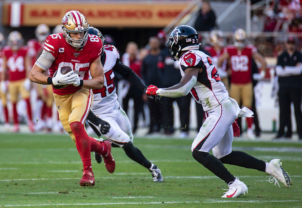 Dec 15 2019  Santa Clara, CA  U.S.A   San Francisco 49ers tight end George Kittle (85) breaks away from Falcons defense for a long gain during the NFL Football game between the Atlanta Falcons and the San Francisco 49ers 22-29 lost at Levi Stadium San Francisco Calif. Thurman James / CSM