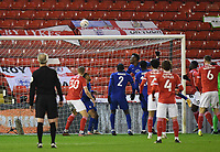 Football - 2020 / 2021 Emirates FA Cup - Round Five - Barnsley vs Chelsea - Oakwell Stadium<br /> <br /> Chelsea's Tammy Abraham clears the ball off the line to prevent an equaliser.<br /> <br /> COLORSPORT/ASHLEY WESTERN