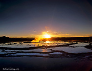 Great Fountain Geyser at sunset in Yellowstone National Park in Wyoming