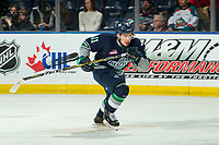 KELOWNA, CANADA - JANUARY 30:  Keltie Jeri-Leon #11 of the Seattle Thunderbirds skates against the Kelowna Rockets during first period on January 30, 2019 at Prospera Place in Kelowna, British Columbia, Canada.  (Photo by Marissa Baecker/Shoot the Breeze)