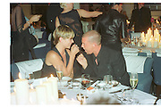 Kate Moss; Alexander Mcqueen, LiÕl Kim Mac cosmetics presentation and dinner. Great Eastern Hotel. 6 June 2001. SUPPLIED FOR ONE-TIME USE ONLY> DO NOT ARCHIVE. © Copyright Photograph by Dafydd Jones 248 Clapham Rd.  London SW90PZ Tel 020 7820 0771 www.dafjones.com