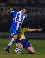 Photo: Ashley Pickering/Sportsbeat Images.<br /> Colchester United v Leicester City. Coca Cola Championship. 03/11/2007.<br /> Mark Yeates of Colchester (L) is tackled by Matty Fryatt of Leicester