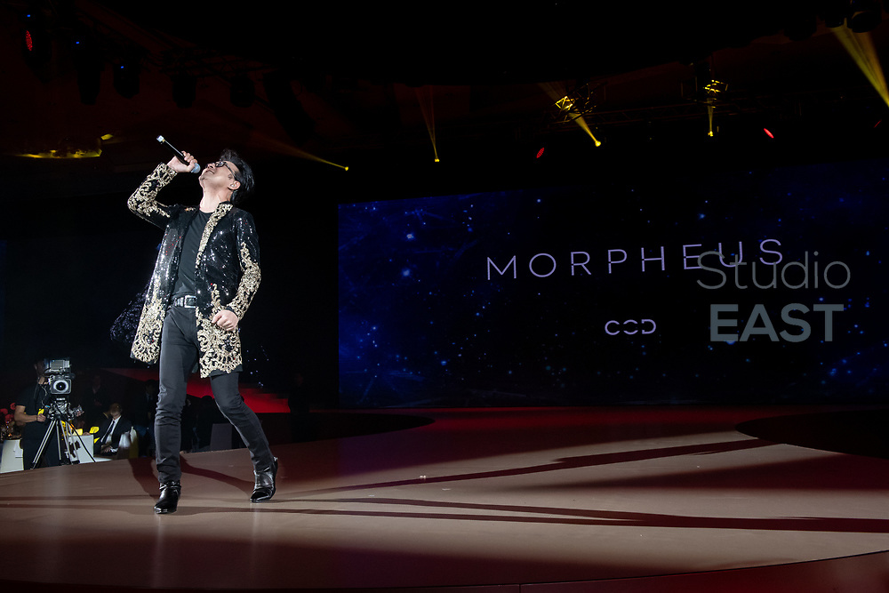 Chinese rock star Wang Feng sings at the Opening Gala Dinner during Melco Morpheus building Opening in Macau, China, on 15 June 2018. Photo by Lucas Schifres