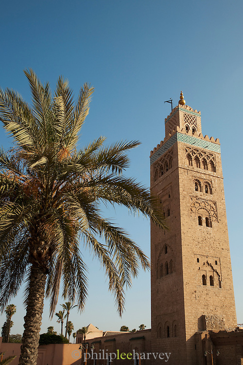 The minaret of the Koutoubia Mosque in Marrakech, Morocco