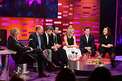 (left to right) Graham Norton, Woody Harrelson, Andy Serkis, Mark Wahlberg, Sienna Miller, Tom Holland and Alison Moyet during filming of the Graham Norton Show at the London Studios, to be aired on BBC One on Friday evening.