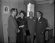 German Ambassador visits Glen Abbey Textiles..1962..06.02.1962..02.06.1962..6th February 1962..The ambassador of the Federal Republic of Germany, .H E Dr Adolph Reifferscheidt and his wife paid a visit to Glenabbey Textiles in Tallaght , Dublin today for a tour of the premises...Image shows Dr and Mrs Reifferscheidt with Mr Rory Barnes (left) and Mr Colm Barnes, joint Managing Directors of Glenabbey.