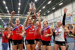 20150425 NED: Eredivisie VC Sneek - Eurosped, Sneek<br />Nynke Oud (5), Denise Baas (4), Marrit Jasper (7), Klaske Sikkes (10) en Janieke Popma (2) of VC Sneek<br />©2015-FotoHoogendoorn.nl / Pim Waslander