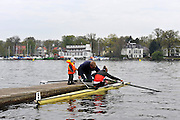 Berlin GERMANY.    General Views GV's, coach preparing his  Junior Sculler, watched by toddler, early  morning around the  Berlin Grunau Spring Regatta Course.  [Berliner Fruh-Regatta 2010 Berlin-Grunau.].  Saturday  24/04/2010  [Mandatory Credit. Peter Spurrier/Intersport Images].