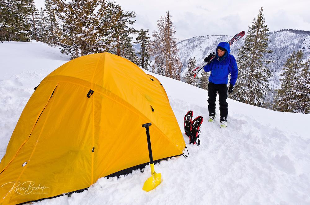 Backcountry skier and winter camp, Ansel Adams Wilderness, Sierra Nevada Mountains, California USA