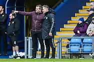 Forest Green Rovers manager, Mark Cooper and Forest Green Rovers assistant manager, Scott Lindsey during the The FA Cup 1st round match between Oxford United and Forest Green Rovers at the Kassam Stadium, Oxford, England on 10 November 2018.