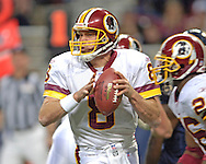 Washington Redskins quarterback drops back to pass in the second half against St. Louis, at the Edward Jones Dome in St. Louis, Missouri, December 4, 2005.  The Redskins beat the Rams 24-9.