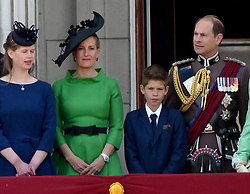 Sophie, Countess of Wessex, Prince Edward, Earl of Wessex and their children Lady Louise Windsor and James, Viscount Severn  stand on the balcony of Buckingham Palace following Trooping the Colour in London
