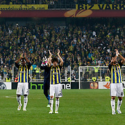 Fenerbahce's players celebrates victory during their UEFA Europa League Semi Final first match Fenerbahce between Benfica at Sukru Saracaoglu stadium in Istanbul Turkey on Thursday 25 April 2013. Photo by Aykut AKICI/TURKPIX