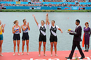 Eton Dorney, Windsor, Great Britain,..2012 London Olympic Regatta, Dorney Lake. Eton Rowing Centre, Berkshire[ Rowing]...Description;   Women's Pair, medals presentation  .Gold Medalist and Centre. GBR W2- Helen GLOVER (b) , Heather STANNING (s).Silver Medalist and Left. AUS.W2- Kate HORNSEY (b) , Sarah TAIT (s).Bronze Medalist and right.  NZL W2- Juliette HAIGH (b) , Rebecca SCOWN (s)  Dorney Lake. 12:23:28  Wednesday  01/08/2012.  [Mandatory Credit: Peter Spurrier/Intersport Images].Dorney Lake, Eton, Great Britain...Venue, Rowing, 2012 London Olympic Regatta...