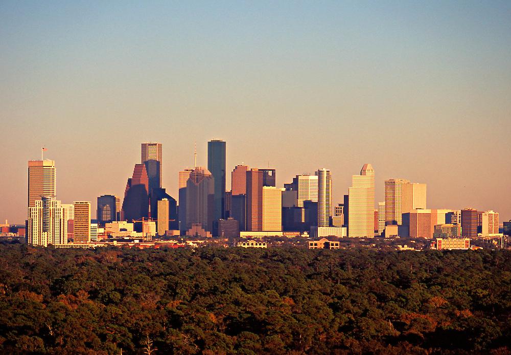 Houston, Texas skyline with trees in foreground.<br /> Headline:Daytime Houston Skyline