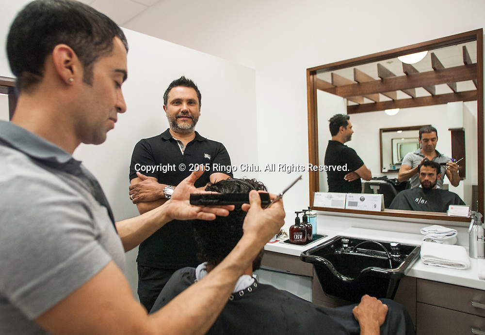 """Amyn Sachedina, former engineering opens """"grooming sanctuary"""" for men as salon chain 18 8 Fine Men's Salons in West Hollywood.<br /> (Photo by Ringo Chiu/PHOTOFORMULA.com)"""