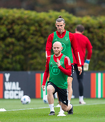 CARDIFF, WALES - Wednesday, September 2, 2020: Wales' Jonathan Williams and captain Gareth Bale during a training session at the Vale Resort ahead of the UEFA Nations League Group Stage League B Group 4 match between Finland and Wales. (Pic by David Rawcliffe/Propaganda)