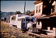 RGS Goose #4 northbound at Ridgway depot, likely just returned from one of the tourist excursions.<br /> RGS  Ridgway, CO  ca. 8/1951<br /> Thanks to Don Bergman for additional information.