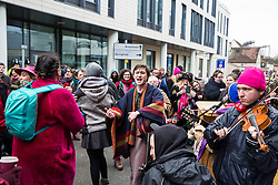 Chelmsford, UK. 6th February, 2019. Supporters of the Stansted 15 outside Chelmsford Crown Court during their sentencing hearing. The Stansted 15 were convicted on 10th December of an anti-terrorism offence under the Aviation and Maritime Security Act 1990 following non-violent direct action to try to prevent a Home Office deportation flight carrying precarious migrants to Nigeria, Ghana and Sierra Leone from taking off from Stansted airport in March 2017.