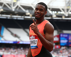 July 22, 2018 - London, United Kingdom - Akeem Bloomfield of Jamaica after the 200m Men.during the Muller Anniversary Games Day One at The London Stadium on July 22, 2018 in London, England. (Credit Image: © Action Foto Sport/NurPhoto via ZUMA Press)