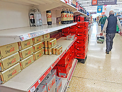 © Licensed to London News Pictures 20/09/2021. <br /> Sevenoaks, UK, Empty shelves in the Coca Cola aisle at Sainsburys in Sevenoaks, Kent today. Supermarket shortages are continuing across the UK due to a lack of supply and a shortage of lorry drivers which is expected to get a lot worse over the next few months. Photo credit:Grant Falvey/LNP