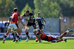 Ryan Caldwell (Exeter Chiefs) takes on the London Welsh defence - Photo mandatory by-line: Patrick Khachfe/JMP - Mobile: 07966 386802 06/09/2014 - SPORT - RUGBY UNION - Oxford - Kassam Stadium - London Welsh v Exeter Chiefs - Aviva Premiership