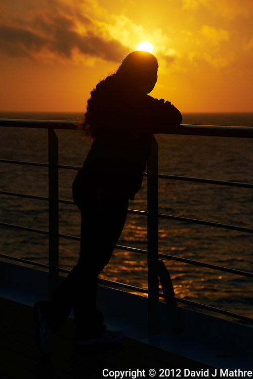 Sunset at Sea on the M/V Explorer. Fall 2012 Semester at Sea Voyage. Image taken with a Nikon D800 and 70-300 mm VR lens (ISO 100, 122 mm, f/11, 1/200 sec).