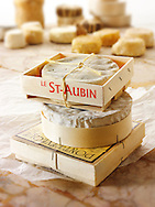 St Aubin, Camembert and Ponteleveque French traditional regonal Cheeses