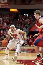07 December 2013:  Zach Lofton & Matt Kavanaugh during an NCAA mens basketball game. The Illinois State Redbirds beat the 25th ranked Dayton Flyers 81-75 in Redbird Arena, Normal IL