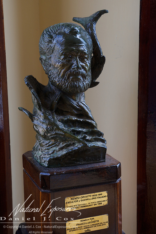 A bronze bust of Ernest Hemingway at the seaside fishing community of  Cojimar in the restaurant and bar known as Terrazas, Cuba.