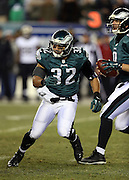 Philadelphia Eagles running back Chris Polk (32) goes in action during the NFL NFC Wild Card football game against the New Orleans Saints on Saturday, Jan. 4, 2014 in Philadelphia. The Saints won the game 26-24. ©Paul Anthony Spinelli