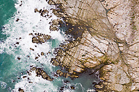 Aerial view above Kaikoura Seal Colony at Canterbury, New Zealand.