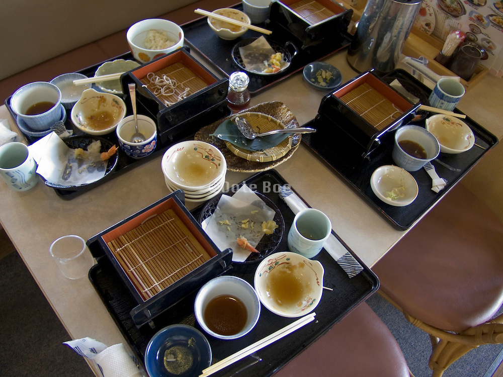 table with the left overs of a soba dish