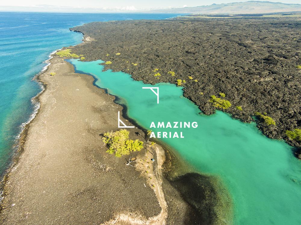 Aerial view of Kiholo Bay, Big Island (Hawaii Island), Hawaii
