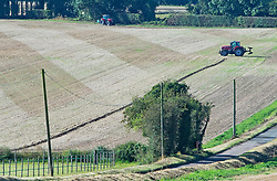 © Licensed to London News Pictures 29/09/2021.<br /> Swanley, UK, A farmer ploughing his field on a bright sunny September morning near Swanley in Kent. Photo credit:Grant Falvey/LNP