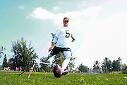 January 28 2016: Dallas Cowboys kicker Dan Bailey warms up before the Pro Bowl practice at Turtle Bay Resort on North Shore Oahu, HI. (Photo by Aric Becker/Icon Sportswire)