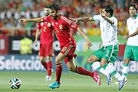 Spain's Cesc Fabregas (l) and Bolivia's Damir Miranda during international friendly match.May 30,2014.(ALTERPHOTOS/Acero)