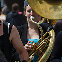 Yes, she really did blow that sousaphone! Le Mans 2011