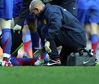 Alan Smith Dislocated Left Ankle<br />Manchester United 2005/06<br />Liverpool V Manchester United 18/02/06<br />The F/A Cup 5th Round<br />Photo Robin Parker Fotosports International