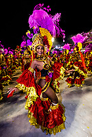Dancers in the Carnaval parade of Academicos do Salgueiro samba school in the Sambadrome, Rio de Janeiro, Brazil.