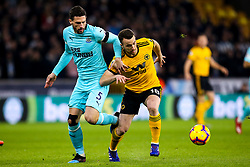 Diogo Jota of Wolverhampton Wanderers takes on Fabian Schar of Newcastle United - Mandatory by-line: Robbie Stephenson/JMP - 11/02/2019 - FOOTBALL - Molineux - Wolverhampton, England - Wolverhampton Wanderers v Newcastle United - Premier League