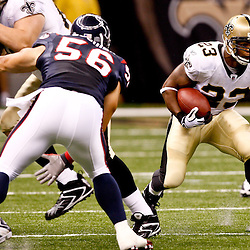 August 21, 2010; New Orleans, LA, USA; New Orleans Saints running back Pierre Thomas (23) runs against the Houston Texans during the first quarter of a preseason game at the Louisiana Superdome. Mandatory Credit: Derick E. Hingle