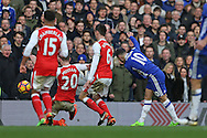 Eden Hazard of Chelsea shoots and scores his sides 2nd goal. Premier league match, Chelsea v Arsenal at Stamford Bridge in London on Saturday 4th February 2017.<br /> pic by John Patrick Fletcher, Andrew Orchard sports photography.